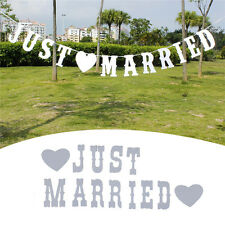 """Vintage """"JUST MARRIED"""" Wedding Banner Party Decor Bunting Photo Booth Props NEW"""