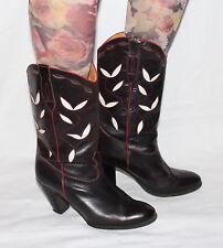 70s 70er Vintage LEDER HIPPIE STIEFEL Echtleder Schuhe LEATHER BOOTS 38 BoHO UK5