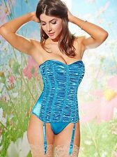 NEW $70 FREDERICKS OF HOLLYWOOD BLUE FULL FIGURE RUCHED STRAPLESS CORSET SZ 2X