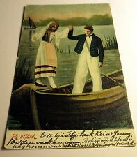 Color Postcard of Pa utfard Young Couple on Boat in Sweden 1902 Postmark