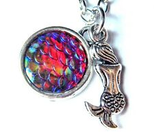 DAINTY SILVER MERMAID NECKLACE rainbow iridescent fish scales ocean pendant N4