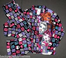 MONSTER High Fleece Pajamas Girl's 7/8 NeW Button Down Shirt Pants Winter Pjs