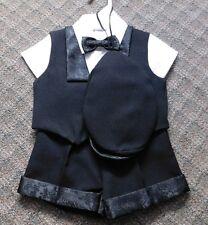 NWT Boys Lito Black 5 Pc Formal Shorts Suit Shirt Vest Hat Tie Size 3/6 Mths S