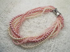 Pink White Multi Strand Faux Pearl Necklace (C41)