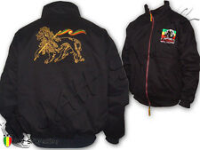 Rasta Reggae Winter Bomber Jacket Coat Soul Rebel Logo Embroidered Lion Of Judah