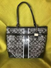 Auth~Coach~Heritage Stripe Signature C Black White Tote Hand/Shoulder Bag Purse