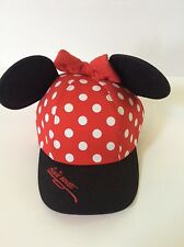 Walt Disney World Minnie Mouse Polka Dot Baseball Cap Hat Ears Youth S Adult