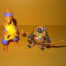 VINTAGE 1993 TEENAGE MUTANT NINJA TURTLES (TMNT) CAVE DON + T.REX ACTION FIGURES