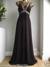 MONSOON PLUM ALARA PURPLE BEAD EMBELLISHED GRECIAN MAXI PROM DRESS GOWN 12 £180