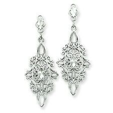 14K White Gold Antique Diamond Cut Filigree Design Dangle Post Earrings