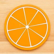 Fruit Coaster Colorful Silicone Cup Drinks Holder Mat Tableware Placemat Orange