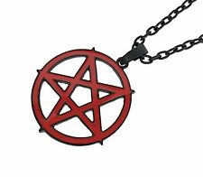 Large Red Inverted Pentagram Necklace Occult Pendant Metal Grunge Gothic Punk