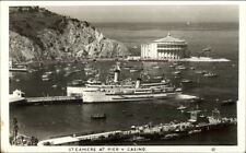 Catalina Island CA Steamers at Piers & Casino Real Photo Postcard