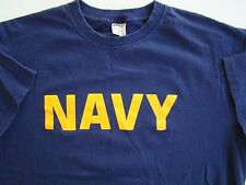 USN US NAVY ALL RANKS RATES SHIP SHORE ATHLETIC PT CREW'S S/S BLUE T-SHIRT LG