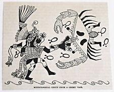 small 1883 magazine engraving ~ MYTHOLOGICAL GROUP FROM CHIMU VASE, Peru