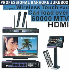 HDMI Karaoke Jukebox System 19'Touch Screen Professional Wireless Microphone 5TB