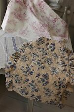 Antique French fabric vintage material PROJECT BUNDLE purple  toile de jouy