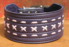 Suede Lined Leather Lurcher Dog Collar Two Tone PINK PURPLE 40-46cm or 16 to 18""