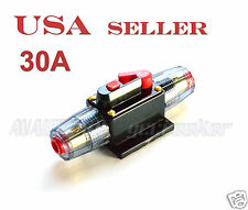 30A Car Audio Inline Circuit Breaker Fuse for 12V System Protection