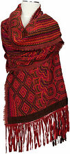 Schal 100% Wolle wool Leder scarf leather fringes franges de cuir écharpe Red