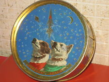Large 1961 USSR Russian Soviet Space Dogs Laika Belka Strelka Rocket Tin Box Can