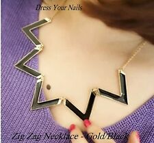 Zig Zag Black+ Gold Coloured Choker Necklace Retro Folding V's - Xmas  NCC-515
