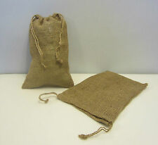 "2 BURLAP BAGS  8"" X 12"" WITH DRAWSTRING  SACK GUNNY FEED BAG TOW SACK GIFT"