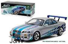 Greenlight Nissan Skyline R34 1999 Brian's Fast and Furious Silver 1/18 19029