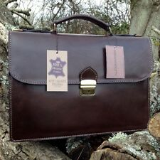 NEW HAND-CRAFTED DESIGNER GENUINE LUXURY LEATHER BRIEFCASE LAPTOP BAG SATCHEL