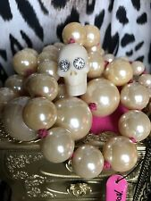 Betsey Johnson Vintage Nautical Pink White Lucite Skull Long Pearl Necklace RARE
