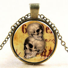 Vintage Halloween Skull Cabochon Photo Bronze Glass Chain Pendant Necklace #50