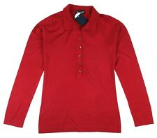JOHN SMEDLEY Bakewell Womens Long Sleeve Polo Shirt Apple Red ~ S ~ RRP £130