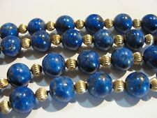 VINTAGE BEAUTIFUL GENUINE LAPIS LAZULI 14K SOLID GOLD MELON BEADS NECKLACE