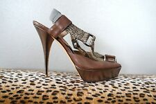 OSCAR DE LA RENTA Brown & Silver Braided Strappy Heels Shoes Sz 38 US 8 EUC