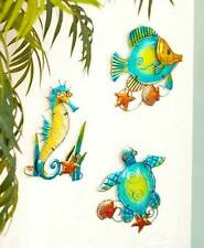 Set Of 3 Coastal Sealife Wall Decor Turtle Fish Sehorse Beach Nautical Wall Art