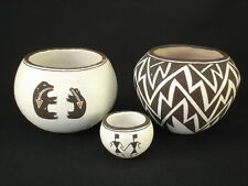Group of 3 Acoma pottery jars, Native American Indian