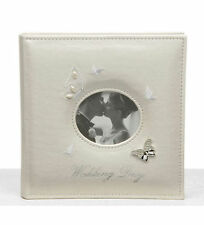 "NEW WHITE BUTTERFLY WEDDING PHOTO ALBUM & PHOTO COVER 6x4"" (10 x 15cm) Large"