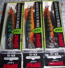 "3- RAPALA X-RAP XR-10 PERCH  4"" 10 cm  LONG CAST SUSPENDING SLASHBAIT FISH LURE"