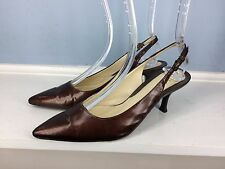 Cole Haan Brown Patent Leather Slingback Pointed toe heels Excellent 7.5 Career