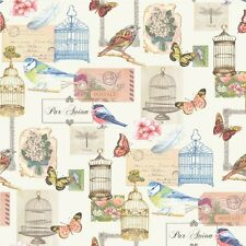 Muriva Bird Cage Designer Feature Wallpaper White / Multi-Coloured Birds Nature