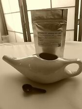 NetiHealth™ Ceramic Neti Pot + 400g Organic Certified Neti Salt ~ UK DELIVERY