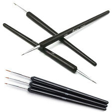 3×Black Short Thin Tiny Nail Art Design Dotting Painting Decor Pen Brush Tool PO