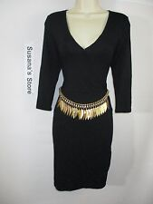 NWT bebe 3/4 SLEEVE BELTED OVERLAY DRESS SIZE S Day planner to night glamour