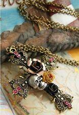 Large Cross pendant necklace,Skull,Roses&Diamanté,Vintage,Goth,Punk,Hippy Chic