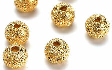 Lovely Gold Plated Stardust Round Beads 8 MM