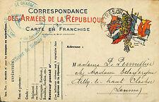 GUERRE 14/18 WW1 CARTE FRANCHISE MILITAIRE 48° REGIMENT CHASSEURS A PIED 1917 ?