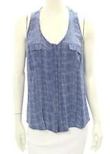 Joie Blue Silk Print Sleeveless Button Up Blouse Size Large