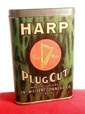 HD HARP Paper Label Vertical Pocket Plug Cut Tobacco Tin (Extremely Rare) MINTY