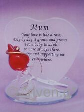 HEART SHAPED Glass Plaque~MOTHER~Red Rose~MOTHERS DAY~Gift@Unique MUM keepsake