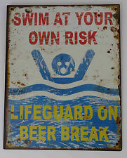 Blechschild witziges Warnschild Swim at your own risk Nostalgie Schild Bad Deko